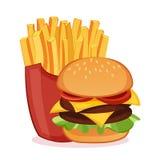 Hamburger e patate fritte Fotografia Stock Libera da Diritti