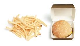 Hamburger e patatine fritte Immagini Stock Libere da Diritti