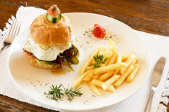 Hamburger e patatine fritte gastronomici Fotografia Stock Libera da Diritti