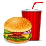 Hamburger e soda Fotografia de Stock