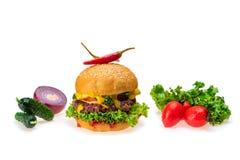 hamburger ed ingredienti immagine stock