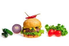 hamburger ed ingredienti fotografia stock libera da diritti