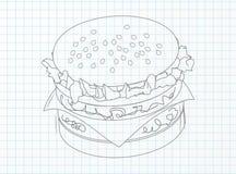 Hamburger em uma folha do caderno Imagem de Stock Royalty Free