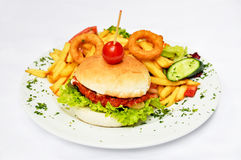 Hamburger en aardappelgebraden gerechten Royalty-vrije Stock Foto