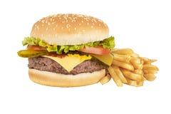 Hamburger en frieten Stock Afbeelding