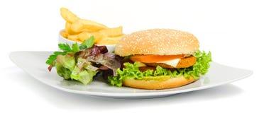 Hamburger en gebraden gerechten stock afbeeldingen