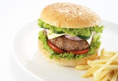 Hamburger en gebraden gerechten Royalty-vrije Stock Foto's