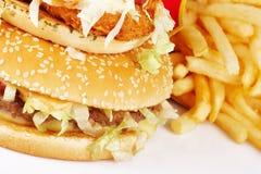 Hamburger en Gebraden gerechten Royalty-vrije Stock Afbeelding
