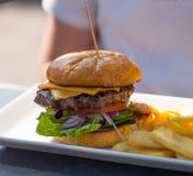 Hamburger en gebraden gerechten Stock Fotografie