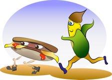 Hamburger en graan het lopen Royalty-vrije Stock Foto