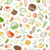Hamburger en ingrediënten, Patroon Royalty-vrije Stock Afbeelding
