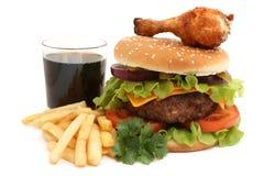 Hamburger en kip Royalty-vrije Stock Afbeelding