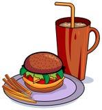 Hamburger en koele drank Royalty-vrije Stock Foto's