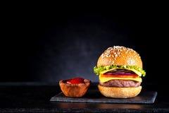 Hamburger en ruimte voor tekst Stock Fotografie