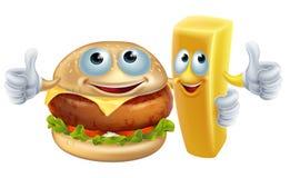 Hamburger en spaanderkarakters Royalty-vrije Stock Afbeelding
