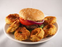 Hamburger en uiringen Royalty-vrije Stock Afbeelding