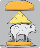 Hamburger entier de vache illustration stock