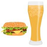 Hamburger et bière Images stock