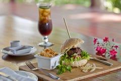 Hamburger et chips Image libre de droits