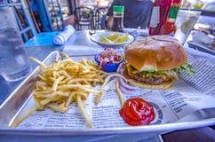 Hamburger et fritures à San Diego images stock