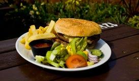 Hamburger et fritures Photo libre de droits