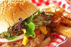 Hamburger et fritures Photographie stock libre de droits