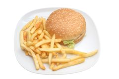 Hamburger et fritures images stock