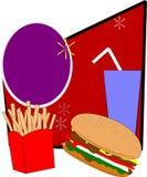 Hamburger et fritures combinés Photo stock