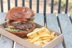 Hamburger et fritures de boeuf Image stock