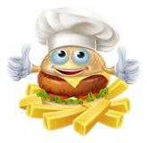 Hamburger et fritures de chef de bande dessinée Image stock