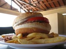 Hamburger et fritures sous lui Photos libres de droits