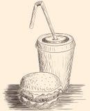 Hamburger et kola tirés par la main photographie stock libre de droits