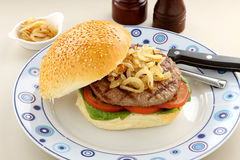 Hamburger et oignons Images stock