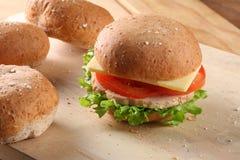 Hamburger et pains Photographie stock