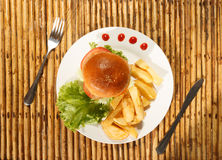 Hamburger et pommes frites Photo stock