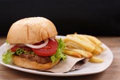 Hamburger et pommes frites photo libre de droits