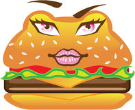 Hamburger with eyes vector Stock Photos
