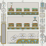Hamburger factory. With conveyor and gripper in flat line style Stock Image