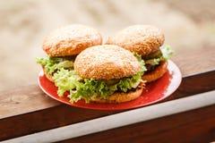 Hamburger fait maison de plat rouge photos libres de droits