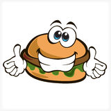 Hamburger fast food. Hamburger with smile and thumbs up for fast food Stock Images