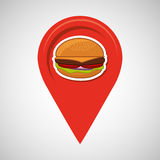 Hamburger fast food concept pin map design Stock Photo