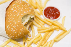 Hamburger. Fast food ; hamburger with French fries in unhealthy nutrition calls junk food Stock Photos