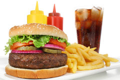 Hamburger Fast Food Meal With French Fries & Soda Stock Image