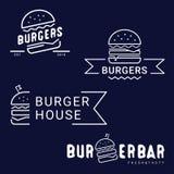 Hamburger, fasta food logo lub ikona, emblemat Konturu projekt ilustracji