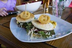 Hamburger felice Fotografie Stock Libere da Diritti