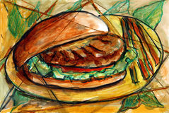 Hamburger Fine Art. Fien art painting of a hamburder on a plate and fine dining display Royalty Free Stock Photo
