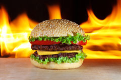 Hamburger with fire Stock Images