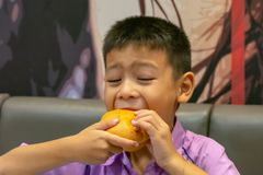 Hamburger fish in hand asia boy holding the eating royalty free stock photos