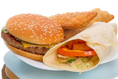 Hamburger and Fish Roll Royalty Free Stock Image