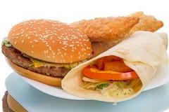 Hamburger and Fish Roll Royalty Free Stock Image